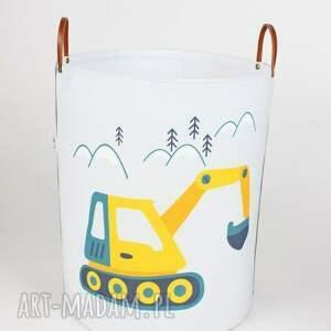 żółte pokoik dziecka pojemnik komplet dwóch pojemników z koparką