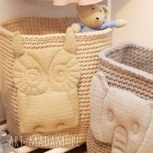 handmade pokoik dziecka kosz na zabawki zwierzątka (szary