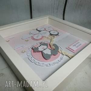 różowe pokoik dziecka kot metryczka - kotek w gwiazdach