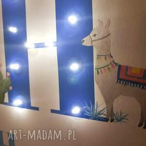 pokoik dziecka: Metryczka LED z lamą, świecąca litera, personalizowany obraz, prezent