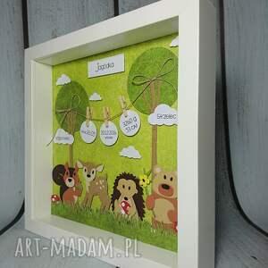 urodziny pokoik dziecka zielone metryczka - lesni przyjaciele
