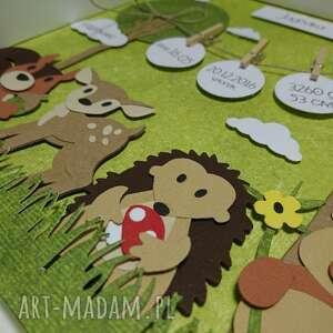 turkusowe pokoik dziecka narodziny metryczka - lesni przyjaciele