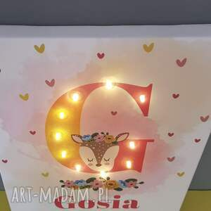 COSnieCOS pokoik dziecka: Metryczka, obraz LED, świecąca litera, sarna, personalizowany, prezent