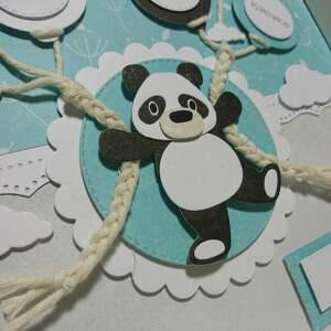 białe pokoik dziecka panda metryczka - w mięcie