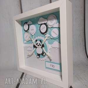 metryczka pokoik dziecka turkusowe - panda w mięcie