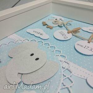 metryczka pokoik dziecka białe ze słonikiem wbłękicie