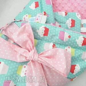 różowe pokoik dziecka minky 2w1 rożek - kocyk muffiny &
