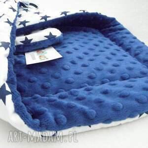 niebieskie minky rożek kocyk - gwiazdki &