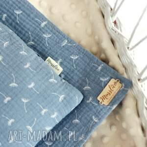 pokoik dziecka: Muślinowy otulacz z poduszką - niebieskie dmuchawce przytulanka
