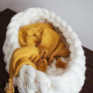 blanket pokoik dziecka musztardowy kocyk z chwostami 100%