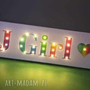 kolorowe pokoik dziecka lampka napis led imię twoje słowo prezent