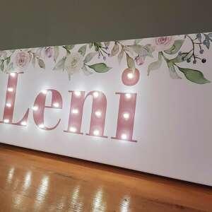 różowe pokoik dziecka dekoracja do pokoju napis led, twoje imię, róże