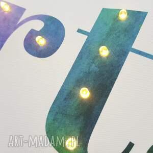 pokoik dziecka lampka tęczowy obraz typograficzny z twoim imieniem