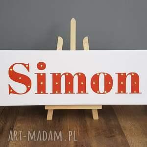 pomarańczowe pokoik dziecka imię napis led twoje obraz