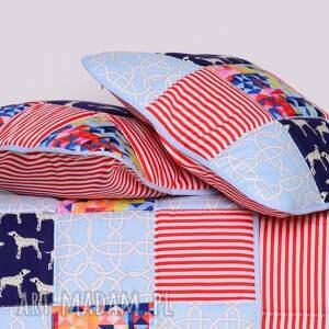 niebieskie pokoik dziecka komplet patchwork narzuta dalmatian holiday 95x150cm