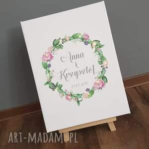 COSnieCOS obraz led, wianek, piwonie, personalizowany prezent, ślub, rocznica, kwiaty młodej