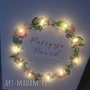 COSnieCOS obraz led, wianek, piwonie, personalizowany prezent, ślub, rocznica, kwiaty rocznicę