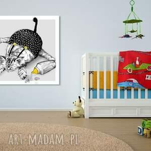 białe pokoik dziecka kot obraz na płótnie - 80x80cm kociak