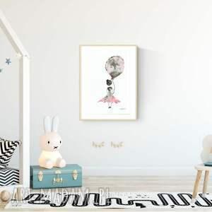 ilustracja dla dzieci pokoik dziecka różowe obrazek namalowany ręcznie 30 x