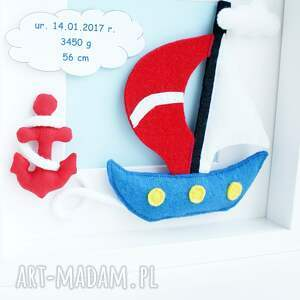 pokoik dziecka statek obrazek ramka 3d spersonalizowana