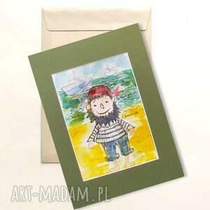 handmade pokoik dziecka pirat obrazek z piratem, akwarela