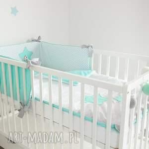 białe pokoik dziecka miętowyochraniacz ochraniacz do łóżeczka słodkie sny