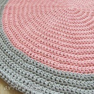 pokoik dziecka okrągły dywan 104 cm szaro-różowy