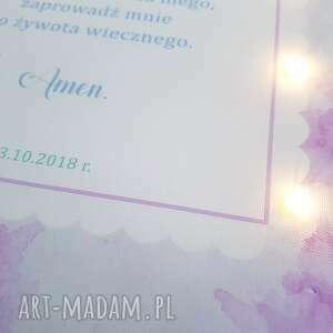 chrzestnego pokoik dziecka fioletowe pamiątka chrztu świecący obraz led