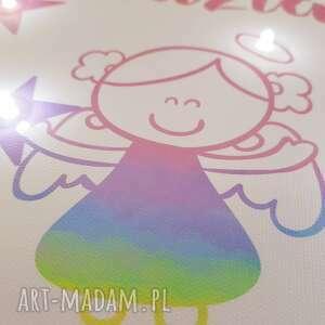 pokoik dziecka anioł pamiątka chrztu świecący obraz led
