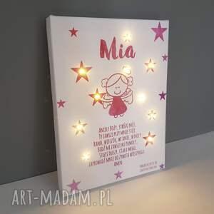różowe pokoik dziecka lampka pamiątka chrztu świecący obraz led