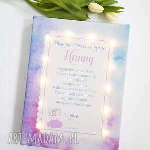 różowe pokoik dziecka obraz pamiątka chrztu świecący led