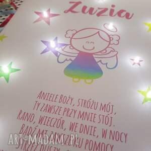 ręcznie robione pokoik dziecka anioł świecący obraz z motywem aniołka i modlitwą