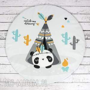 żółte pokoik dziecka dywanik panda welurowa mata do zabawy oraz