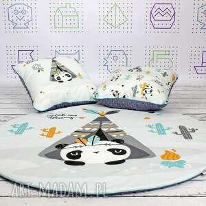 pokoik dziecka: Panda welurowa mata do zabawy oraz dwie poduszki - dywanik