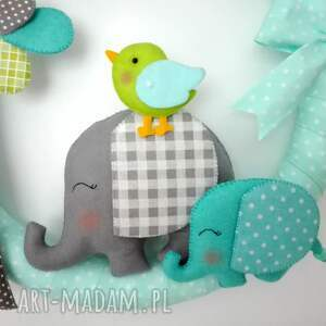 ręczne wykonanie pokoik dziecka girlanda personalizowana słoniki