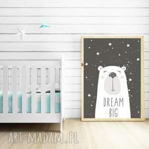 atrakcyjne pokoik dziecka miś plakat dream big a3