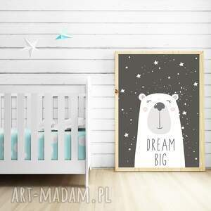 gustowne pokoik dziecka miś plakat dream big a3