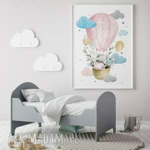 pokoik dziecka: Plakat obraz odlotowy zajączek różowy 50x70 cm