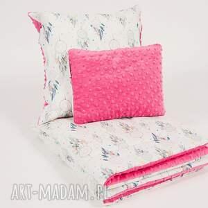 różowe pokoik dziecka minky podusia do wózka - fuksjowe