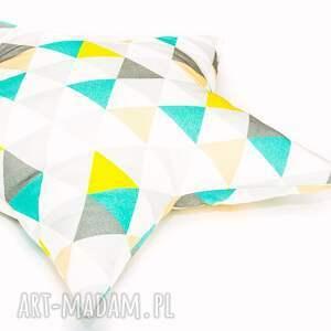 poduszka pokoik dziecka żółte gwiazdka - trójkąty