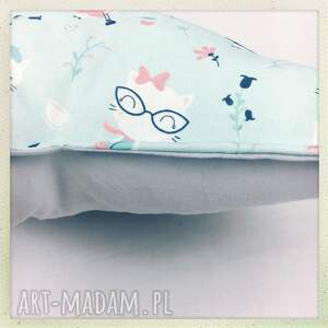 szare pokoik dziecka star poduszka gwiazdka kot w okularach