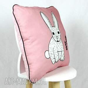 różowe pokoik dziecka poduszka królik róż 46x46