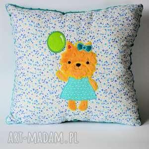 pomarańczowe pokoik dziecka piesek poduszka - z balonem