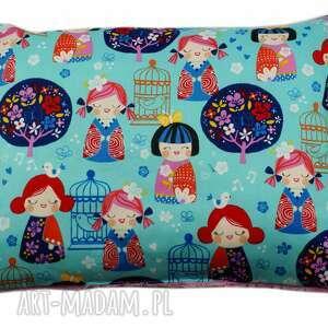 różowe pokoik dziecka kokeshi poduszka, wzór, pudrowy