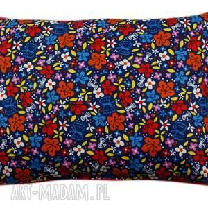 niebieskie pokoik dziecka polar poduszka, wzór kwiaty, oryginalny