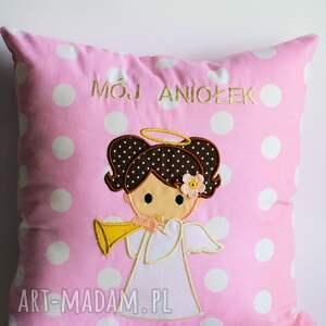 poduszka pokoik dziecka różowe z aniołem - dziewczynka