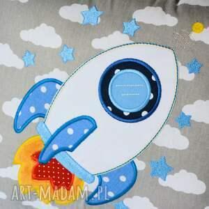 poduszka pokoik dziecka szare z aplikacją - rakieta