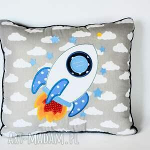 handmade pokoik dziecka poduszka z aplikacją - rakieta