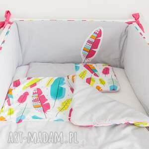 różowe pokoik dziecka piórka pościel do łóżeczka piórkowy las