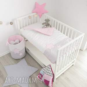 gwiazdy pokoik dziecka różowe pościel do łóżeczka słodkie sny
